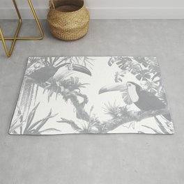 Toucans and Bromeliads - Sharkskin Grey Rug