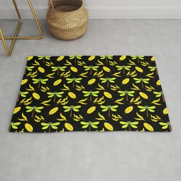 Pretty beautiful yellow golden dragonflies, leaves elegant stylish black nature spring pattern Rug