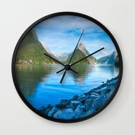 Serene Morning at Milford Sound Wall Clock