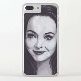 Original Charcoal Drawing of Morticia Addams Clear iPhone Case