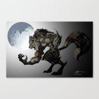werewolf Canvas Prints featuring Werewolf by Michelena