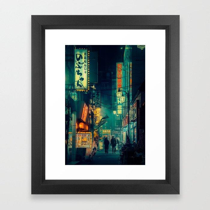 Tokyo Nights / Memories of Green / Blade Runner Vibes / Cyberpunk / Liam Wong Framed Art Print