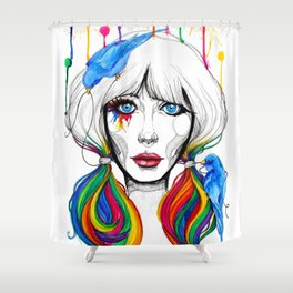 Zooey - Twisted Celebrity Watercolor Shower Curtain