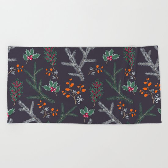 Seamless pattern with floral branches winter christmas hand drawn texture background Beach Towel
