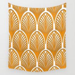 Orange,white,art deco, vintage,fan pattern, art nouveau, vintage, Wall Tapestry