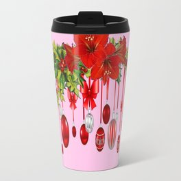 PEPPERMINT PINK RED AMARYLLIS FLOWERS & HOLIDAY ORNAMENTS Travel Mug