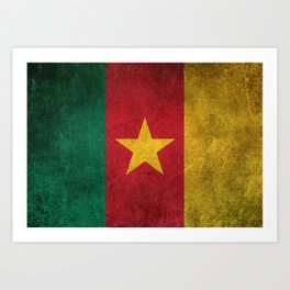 Old and Worn Distressed Vintage Flag of Cameroon Art Print