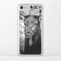 ADORABELK - portrait of a lowland elk nature wild black and white funny animals deer love Clear iPhone Case