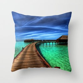 Stilt Bungalows In Mauritius Holiday Resort Ultra HD Throw Pillow