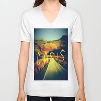 oasis V-neck T-shirts featuring Oasis by SLIDE
