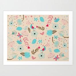 Singing birds in flowers Art Print