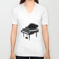 piano V-neck T-shirts featuring Piano by shopaholic chick