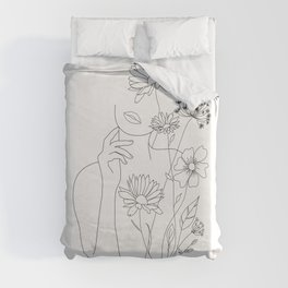 Minimal Line Art Woman with Flowers III Duvet Cover