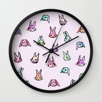 rabbits Wall Clocks featuring Rabbits by Darish