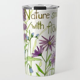 Nature Smiles with Flowers Watercolor Illustration Travel Mug