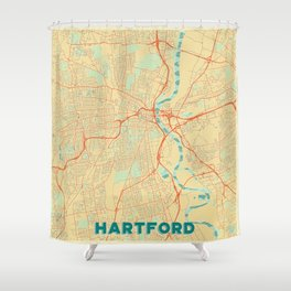 Hartford Map Retro Shower Curtain