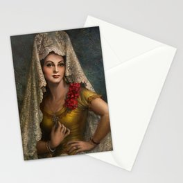 Spanish Beauty with Lace Mantilla and Comb by Jesus Helguera Stationery Cards