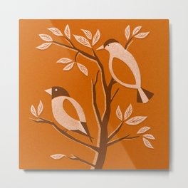 Burnt Orange Mid Century Birds On Branches Metal Print