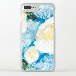 Unbreakable, Blue Hydrangea Floral Bouquet Painting Clear iPhone Case