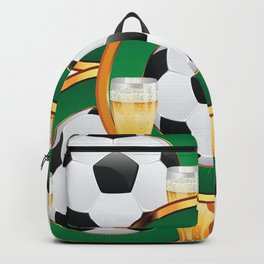 Two beer glasses and soccer ball in green circle Backpack