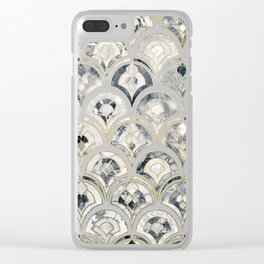 Monochrome Art Deco Marble Tiles Clear iPhone Case