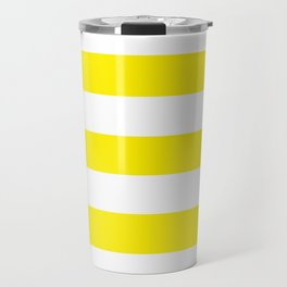 Canary yellow - solid color - white stripes pattern Travel Mug