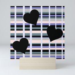 Three Black Hearts - Purple Green Mini Art Print