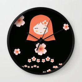 Russian Matryoshka Doll Girl Deconstructed with Flowers Wall Clock