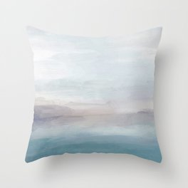Light Gray, Mauve, Turquoise Aqua Blue Print Modern Wall Art, Abstract Painting Throw Pillow