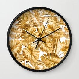 Gold Leaves Aloha Tropical Foliage Pattern Wall Clock