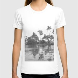 Palm trees River Bank Grey Sacale Tropical Landscape, India T-shirt