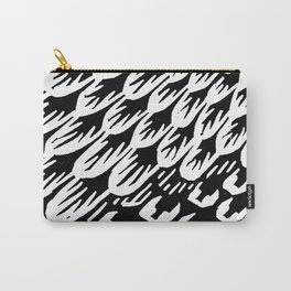 Black and white brush stroke feathers pattern 3 Carry-All Pouch
