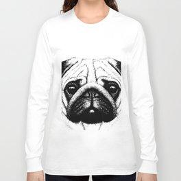 Black White Pug Pencil Sketch Long Sleeve T-shirt