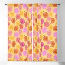 Hibiscus Hawaiian Flowers in Pinks and Corals on Yellow Blackout Curtain