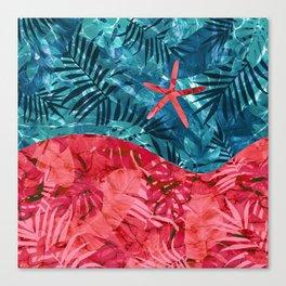 Summer Beach Tropical Pattern Canvas Print