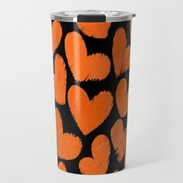 Sketchy hearts in orange and black Travel Mug