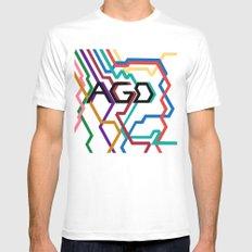 AGD Logo MEDIUM White Mens Fitted Tee