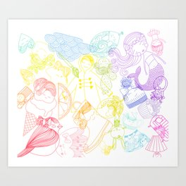 Rainbows Penelope Art Print