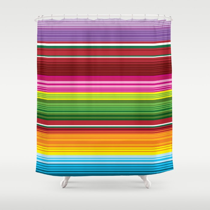 Mexican Blanket Rainbow Striped Shower Curtain
