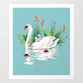 Bond, Jungle Animals, Swan Family Nature Pond Illustration, Bohemian Ducks Love Colorful Botanical Art Print