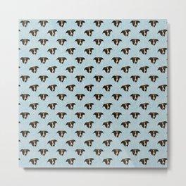 Cute Brown Hound Puppy Faces - Blue Theme Pattern Metal Print