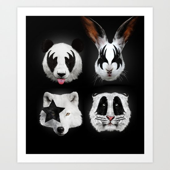 Kiss of animals Art Print