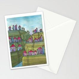 Happy Village - naive scenery - Yaara Happy Art  Stationery Cards