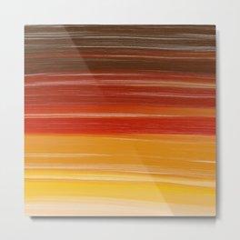 Abstract brown orange yellow sunset brushstrokes Metal Print