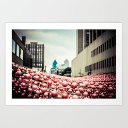 Pink In The Village Art Print