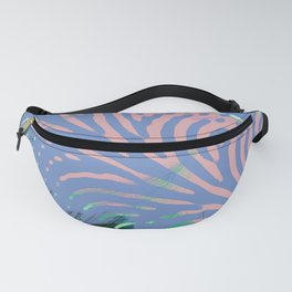 Serenity and Rose Quartz Abstract Leaf Pattern Fanny Pack