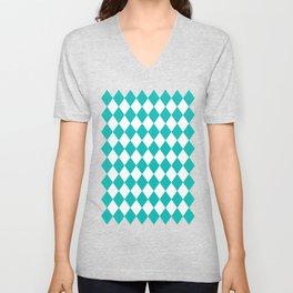 Rhombus (Eggshell Blue/White) Unisex V-Neck