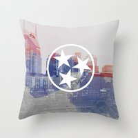 nashville Throw Pillows featuring Nashville, Tennessee by Matt Scott Crum