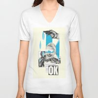 kim sy ok V-neck T-shirts featuring OK by collageriittard
