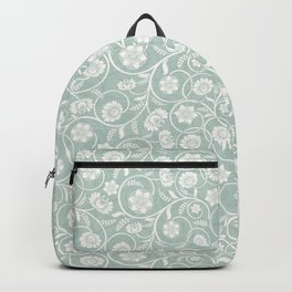 caribbean teal green floral pattern Backpack